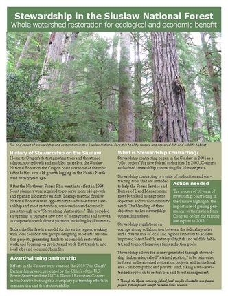 Stewardship in the Siuslaw National Forest